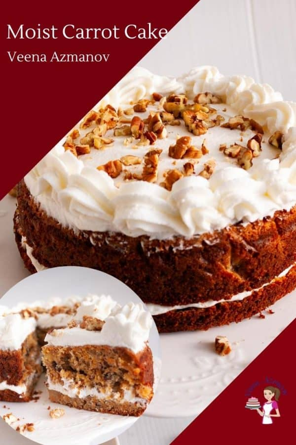 A moist carrot cake with cream cheese frosting.
