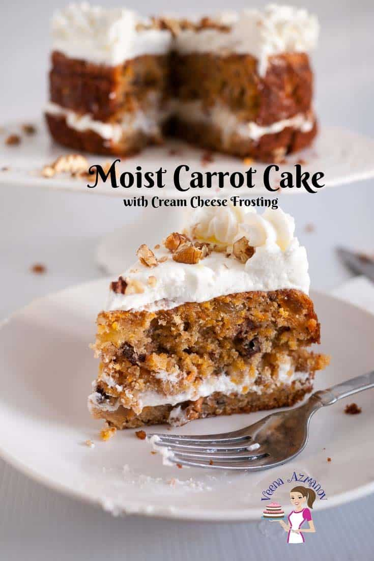 Make the perfect moist carrot cake recipe with cream cheese frosting for your next celebration event. Simple and easy recipe baked from scratch with my one bowl recipe #carrot #cake #cream #cheese #frosting #recipe via @Veenaazmanov