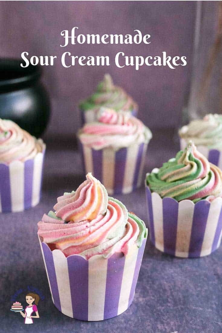 Learn to make the best moist vanilla sour cream cupcakes that a light and fluffy with a soft crumb then topped with a sweet cream buttercream that just melts in the mouth. Simple, easy and effortless recipe by Veena Azmanov #sourcream #sour #cream #cupcakes #recipe #cupcakes via @Veenaazmanov