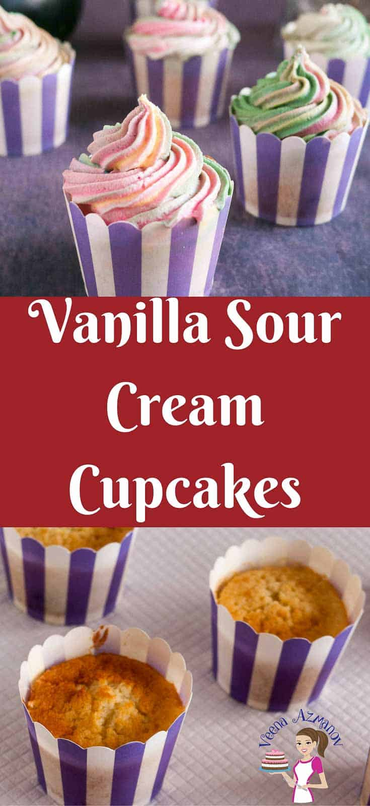 Pinterest Image - These moist Vanilla Sour Cream Cupcakes is a simple easy and effortless recipe. A perfect recipe to have on hand when you want to make a quick but delicious no fuss cupcake recipe. The sour cream keeps them moist and creamy. Enjoy these as a tea cake just on it's own or make some delicious sweet cream buttercream to go with it