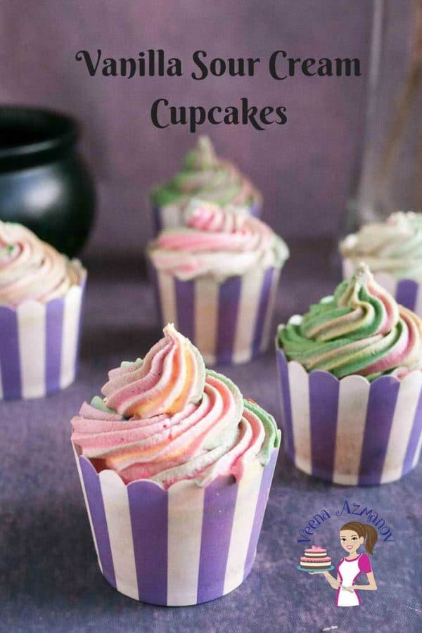 These moist Vanilla Sour Cream Cupcakes is a simple easy and effortless recipe. A perfect recipe to have on hand when you want to make a quick but delicious no fuss cupcake recipe. The sour cream keeps them moist and creamy. Enjoy these as a tea cake just on it's own or make some delicious sweet cream buttercream to go with it