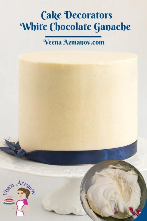 Pinterest image for cake decorators chocolate ganache.
