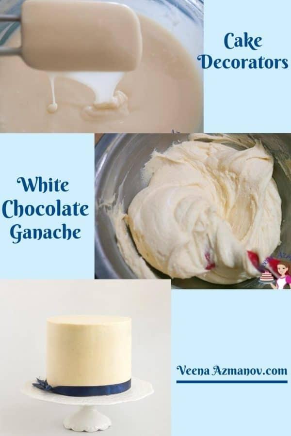 Pinterest image for white chocolate ganache.