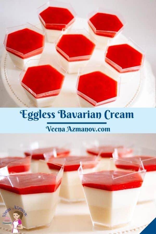 Pinterest image for Eggless Bavarian Cream..