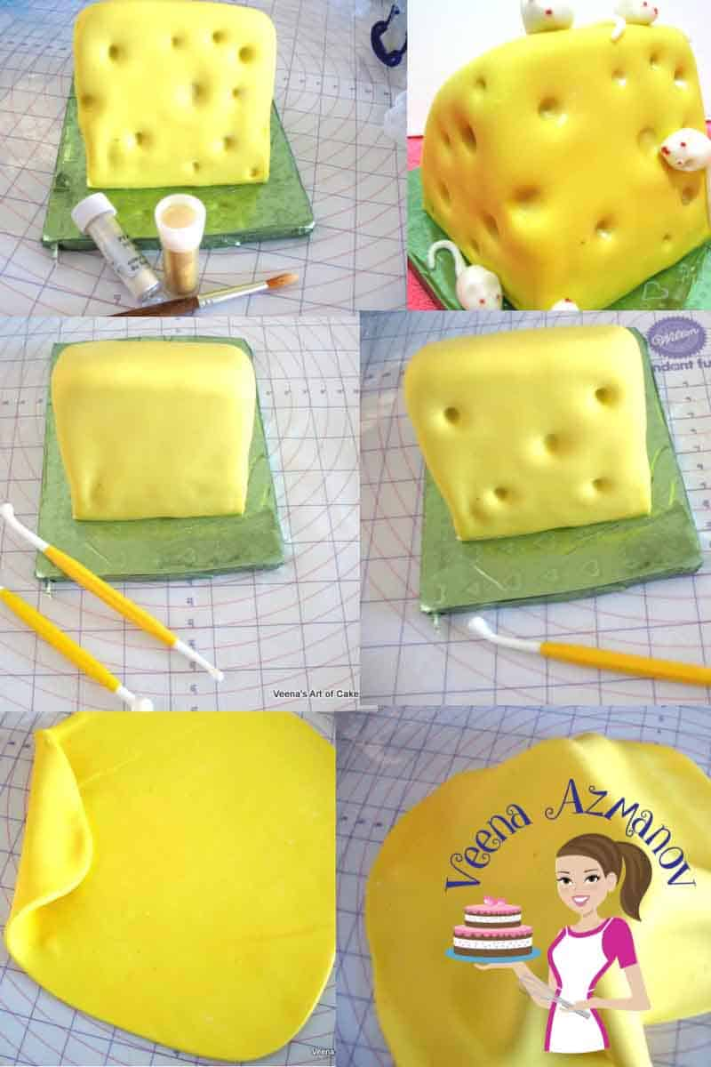 Progress photos of a making a cake decorated like a block of Swiss cheese.