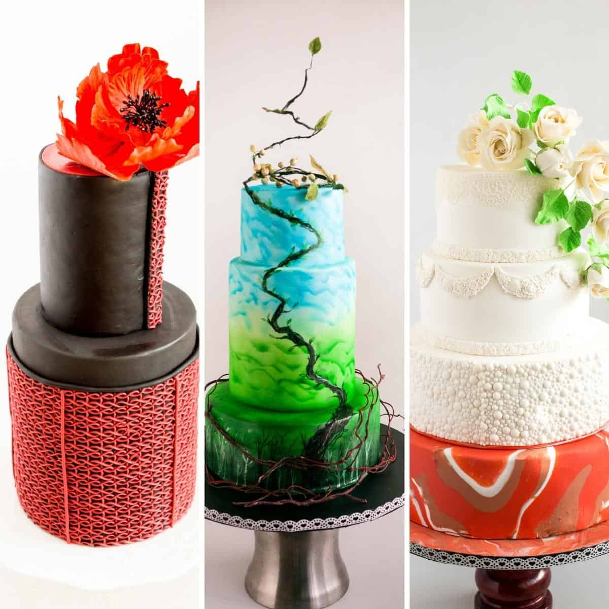 Fondant cakes in a collage.