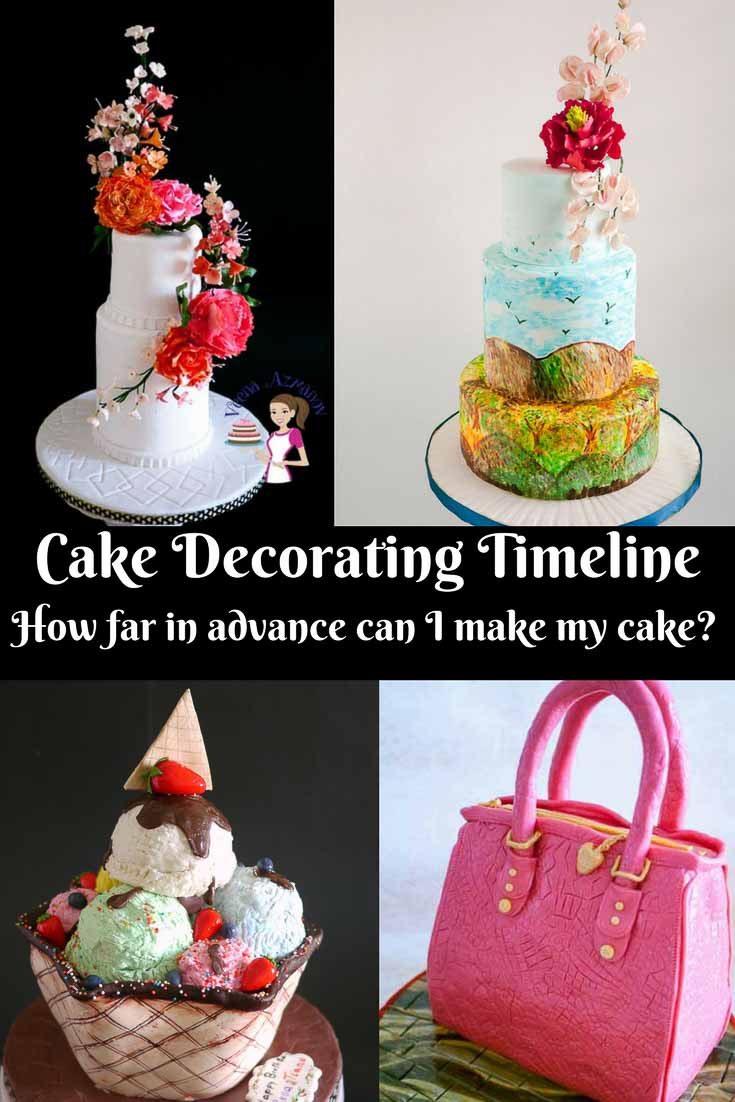 A Pinterest Optimized Image showing examples of different cakes that take different times to decorate discussing how far in advance can I decorate my cake.