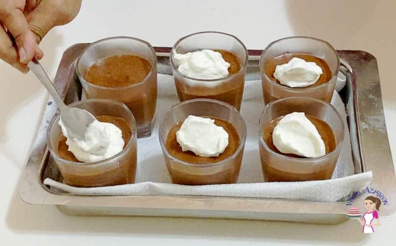 Top the chilled mousse with whipped cream