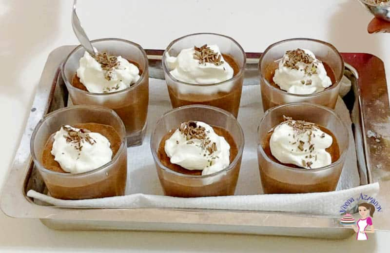 Top the mousse with chocolate shavings
