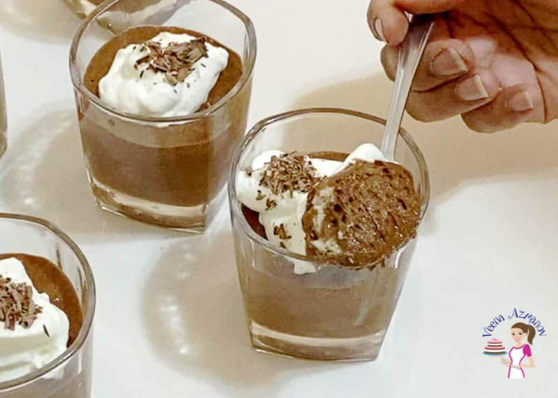 Mousse in a glass with spoon