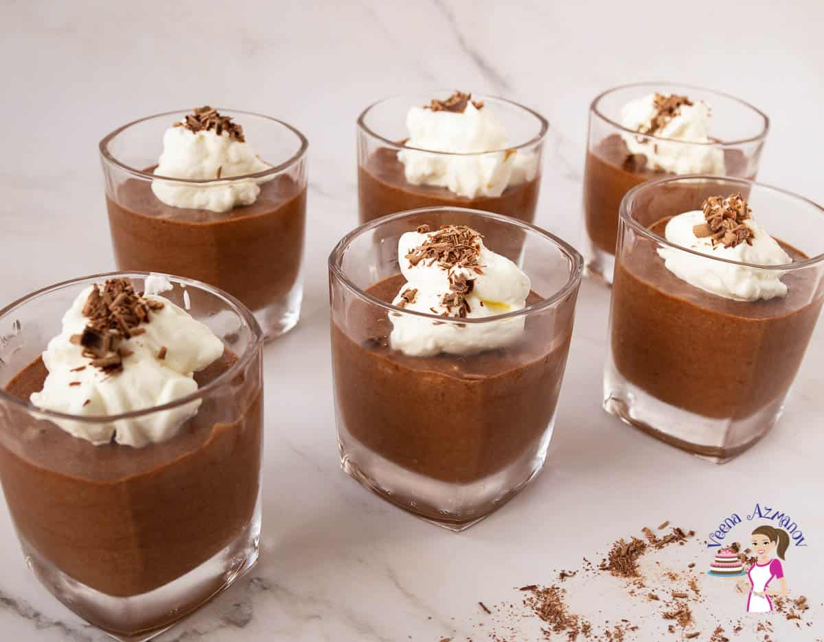 Six glasses of chocolate mousse
