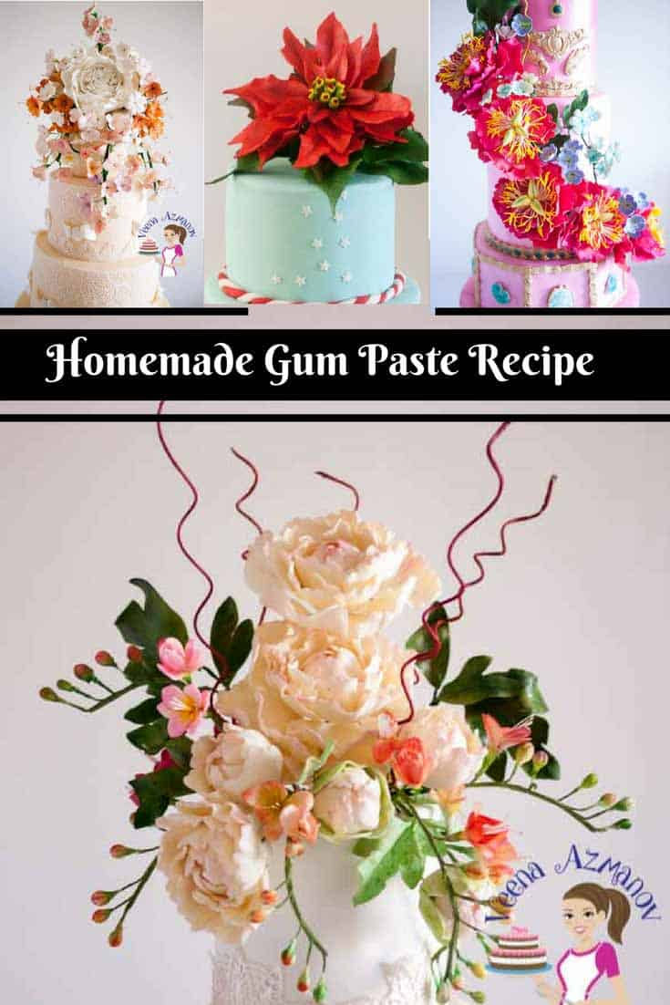 Pinterest Optimized Image for my Gumpaste Recipe, - This gum paste recipe makes life like sugar flowers for all occasions