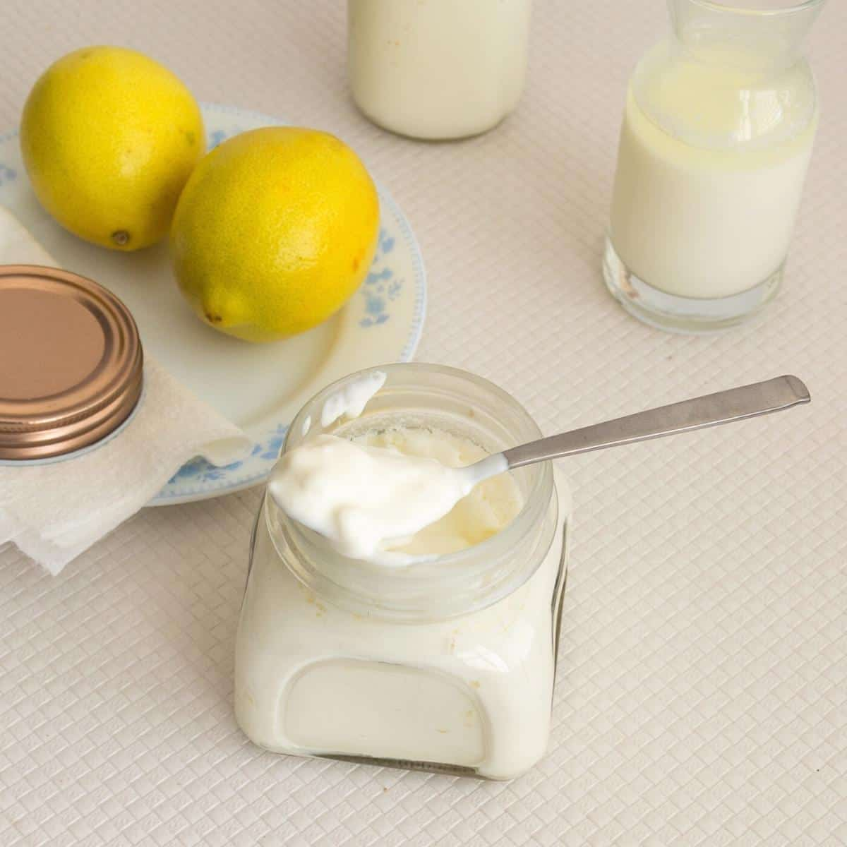 Sour cream in a mason jar.