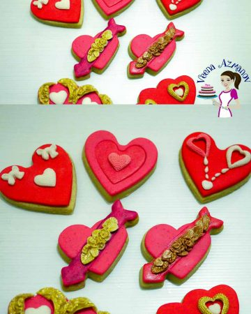 Heart-shaped cookies decorated with royal icing.