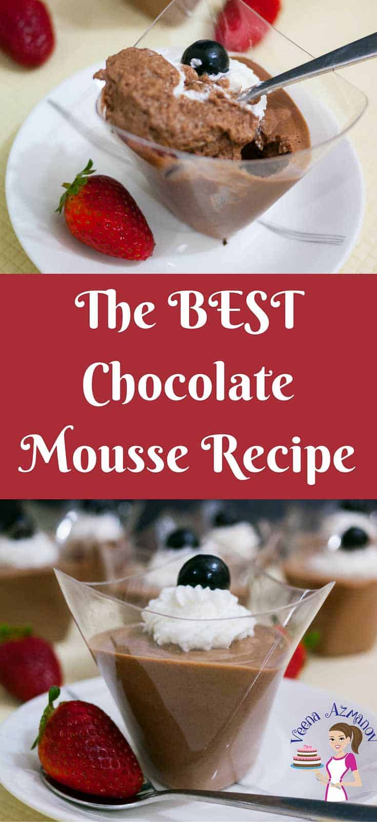 This luxurious rich chocolate mousse is a classic recipe in all it's glory with rich dark chocolate in a pastry cream base, lightened with whipped cream and whipped egg whites that just melts in the mouth. A simple easy and effortless recipe that gets done is about 30 minutes or less.