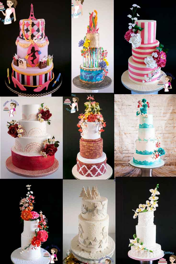 A collage of wedding cakes.