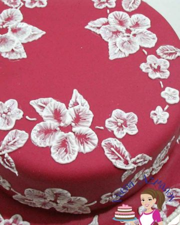 A cake decorated with a brush embroidery pattern.