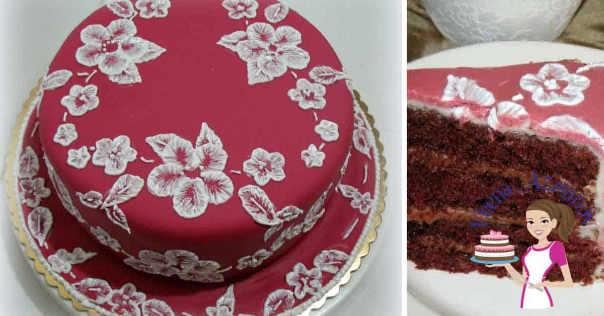 A brush embroidery cake can be so impressive for any celebration; even a wedding cake. It's a simple, easy and effortless technique with dramatic results. On this cake I have shown you how to achieve a lace effect using the brush embroidery technique. #brush #embroidery #cake #tutorial #cakedecorating #howto #sugarlace #brushembroidery