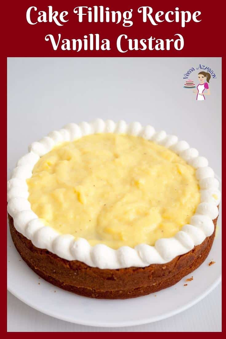 This vanilla pastry cream filling or creme patisserie filling is an absolute treat between layers of cake or in a fruit tart. Made from scratch is pastry cream is a must know dessert #pastry #cream #filling #creme #patisserie #cake #pie via @Veenaazmanov