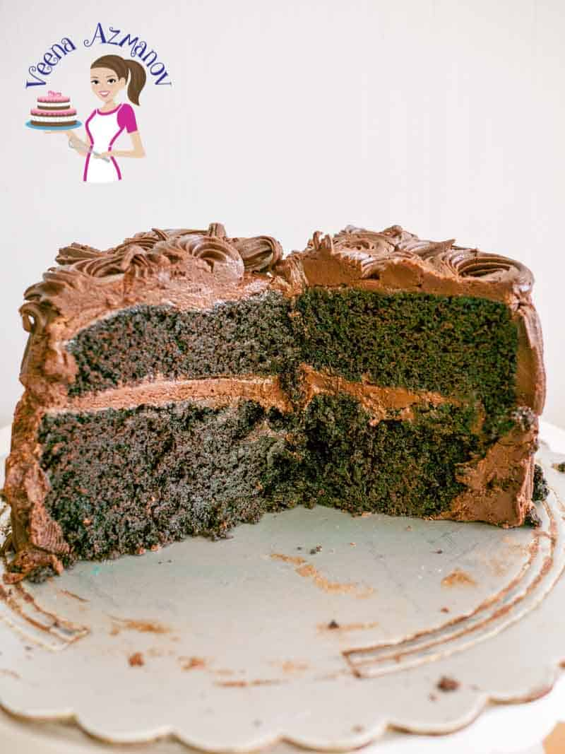 A chocolate chiffon cake sliced in half.