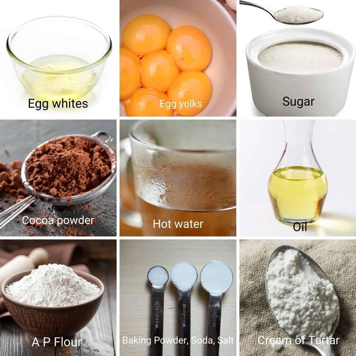 Ingredients shot collage for chiffon cake.