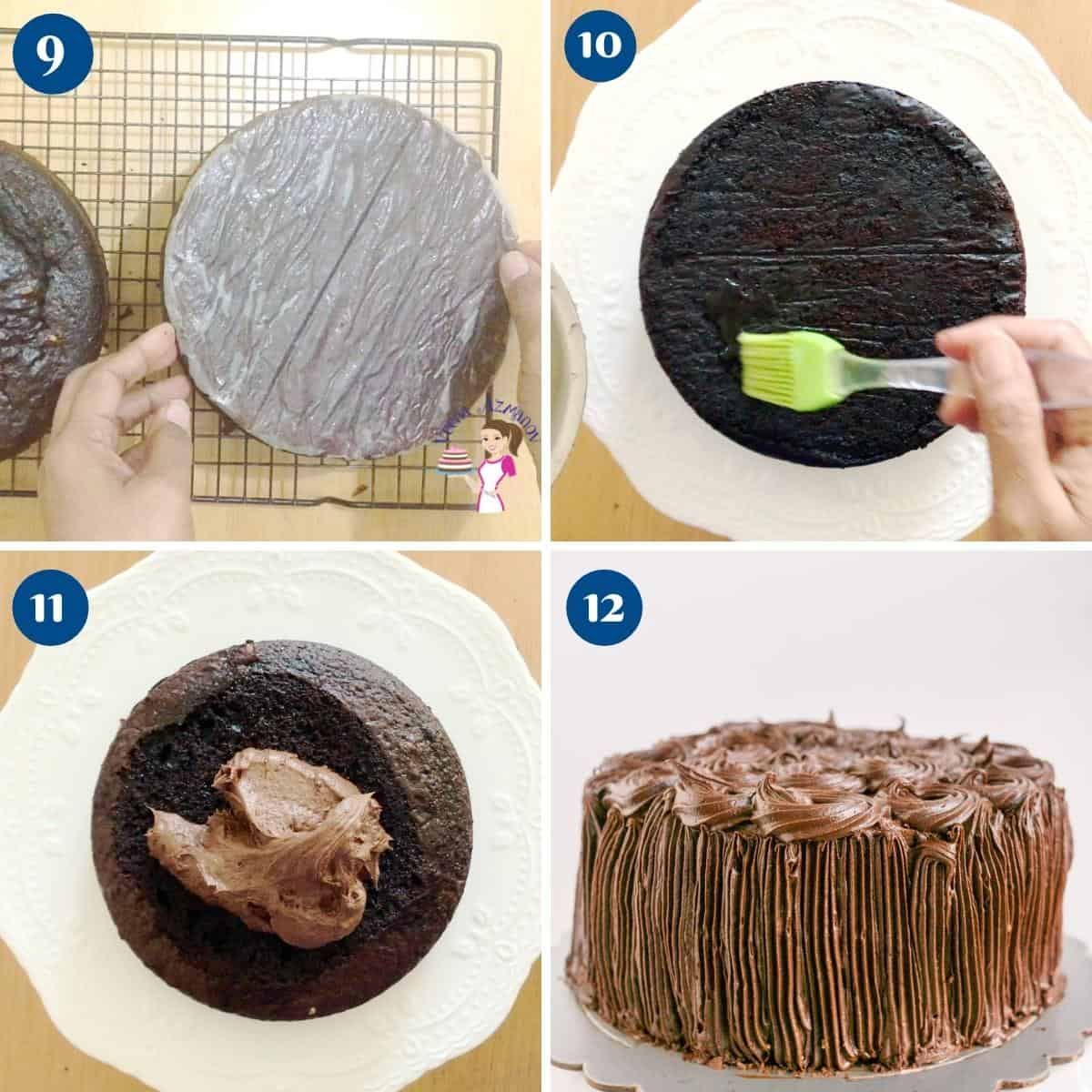 Progress pictures collage for chocolate chiffon cake.