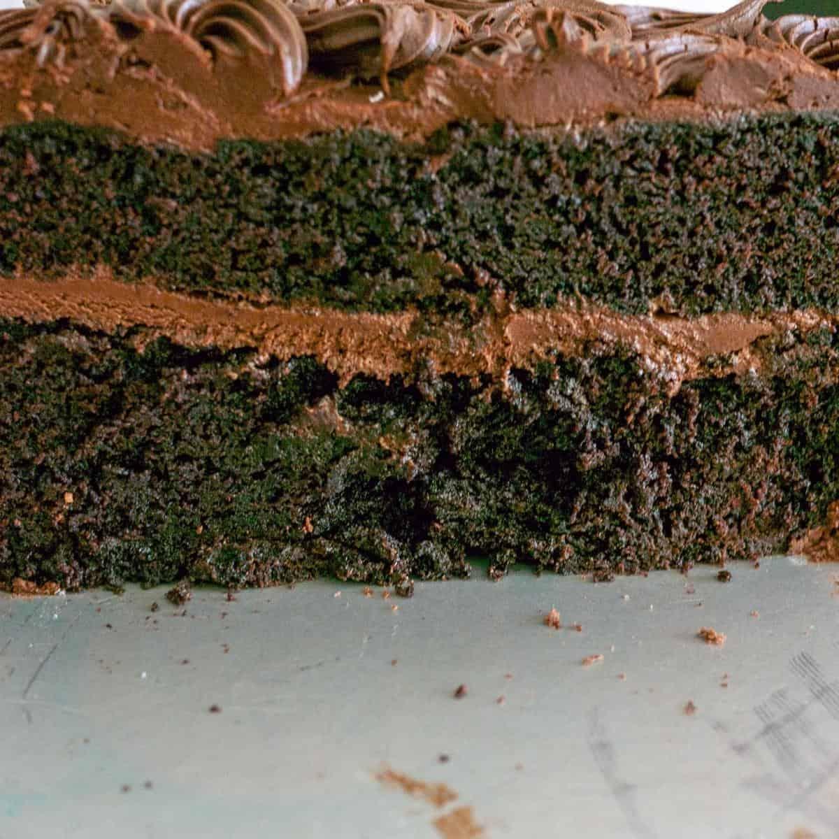 Sliced chiffon cake on a cake stand.