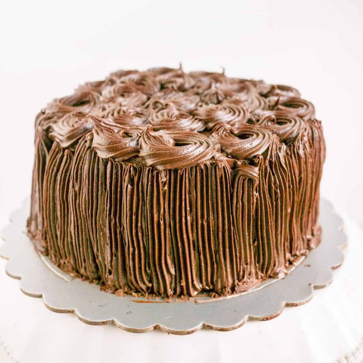 Frosted chiffon cake with Kahlua frosting.