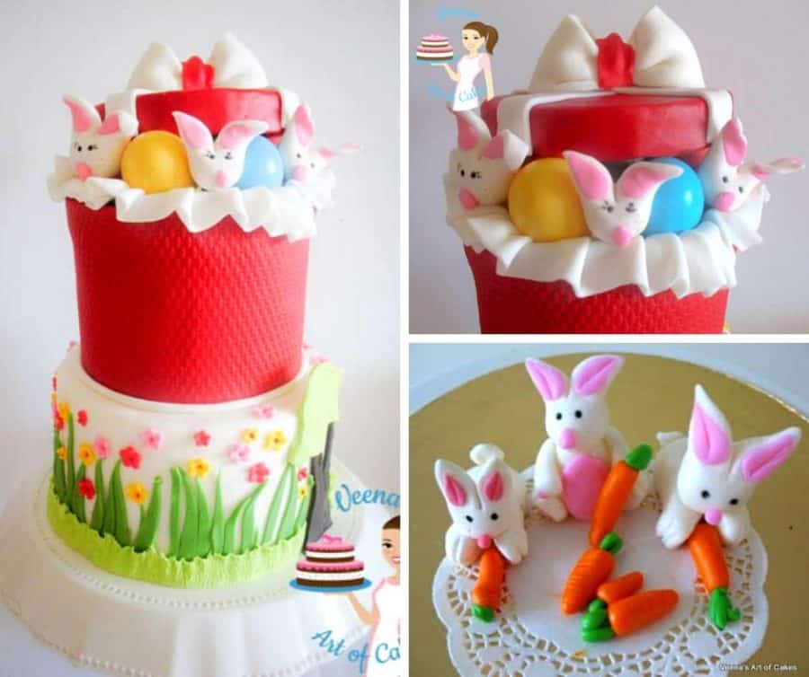 A cake decorated with gum paste Easter basket theme.