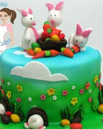A cake decorated with an Easter theme.