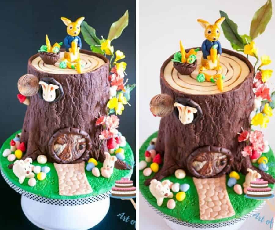 A cake decorated to look like Peter Rabbit tree house.