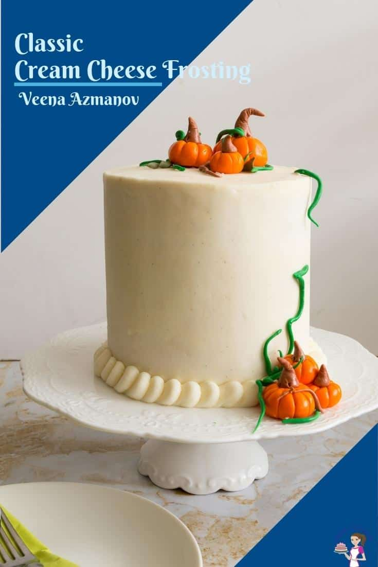 A cake decorated with cream cheese for sharing on pinterest