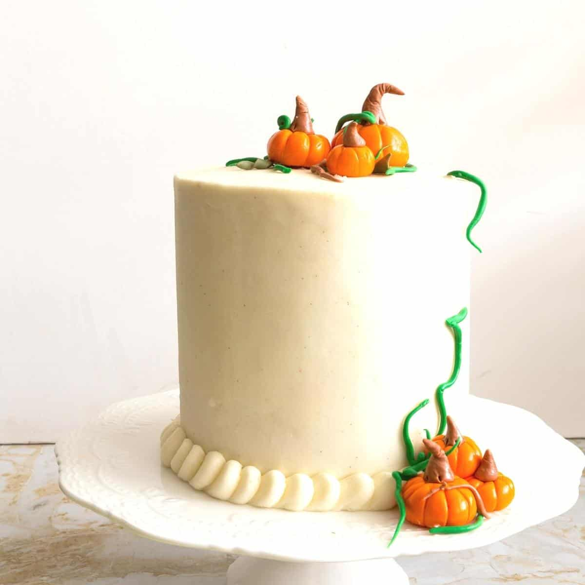 A cake decorated with cream cheese buttercream