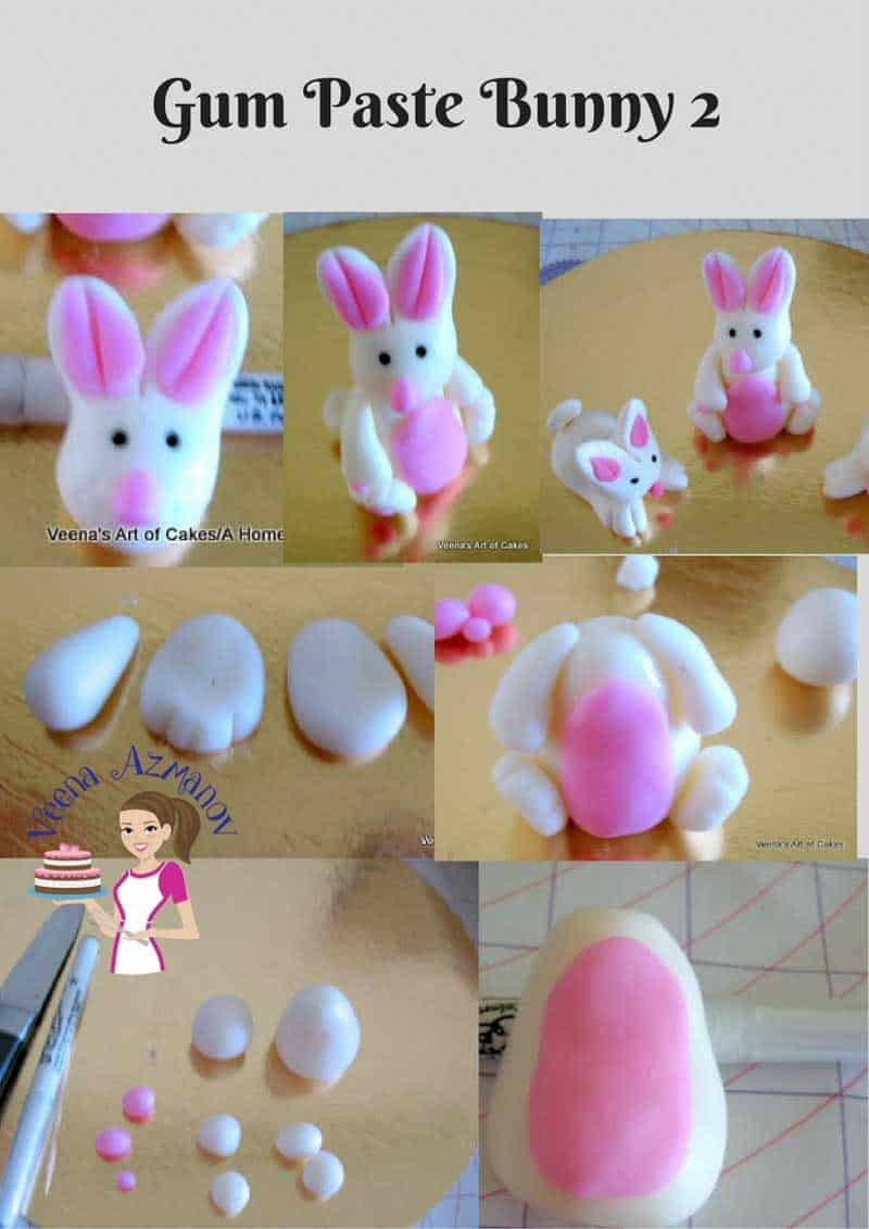A collage of close ups of a gum paste bunny.