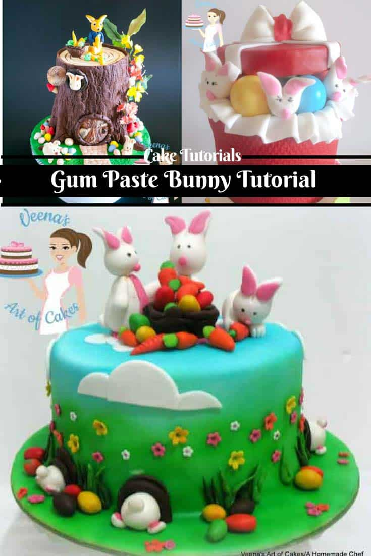 A cake decorated with gum paste Easter bunnies.