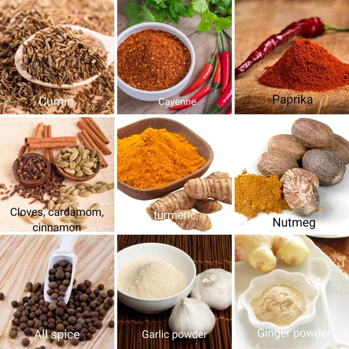 Ingredients shot collage for shawarma spice.