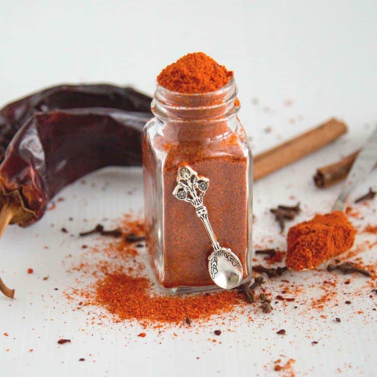 A spice jar on the table.
