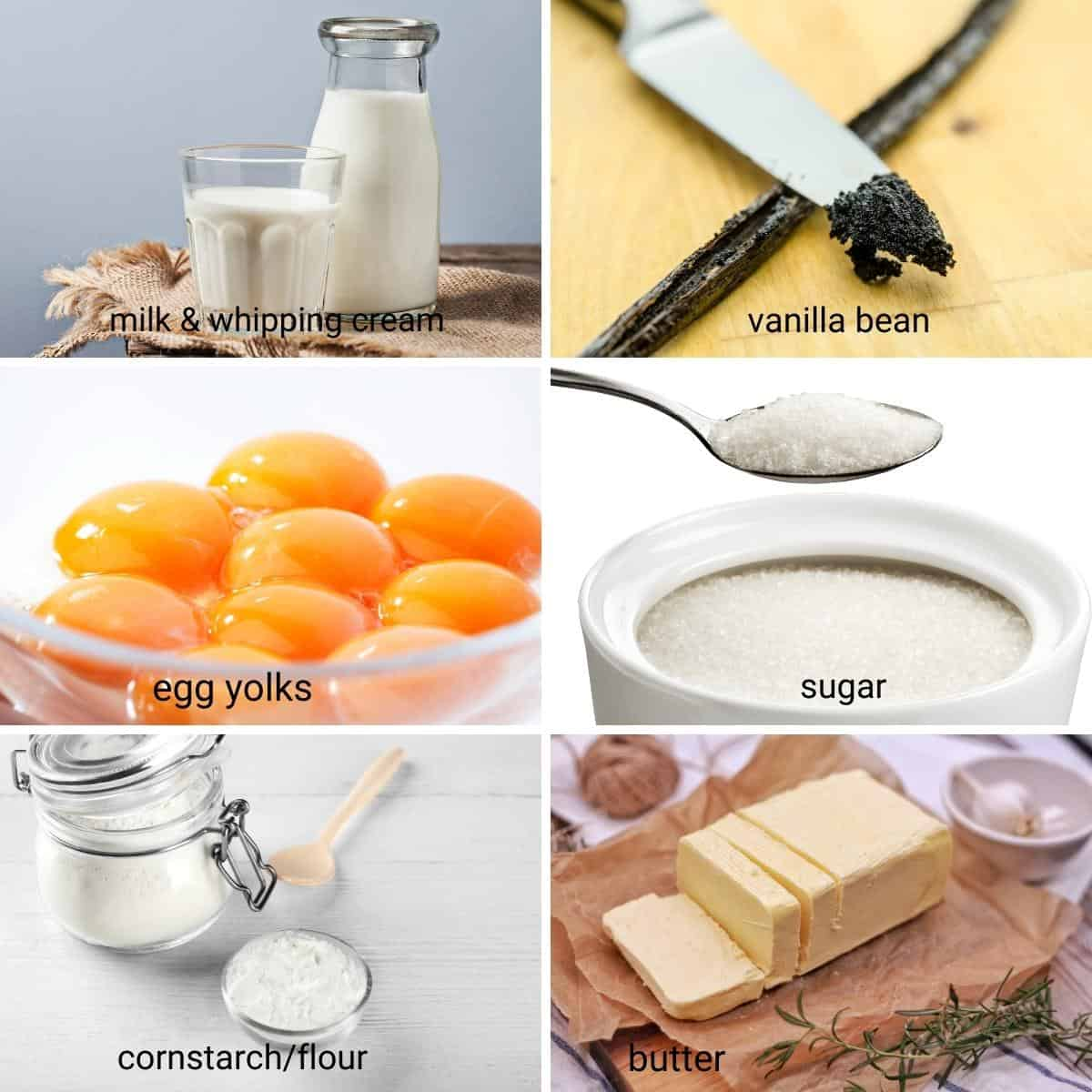 Ingredients shot collage for custard cake filling.