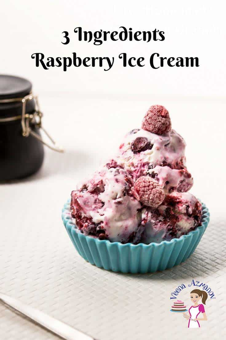 An image optimized for social sharing for these no-churn raspberry ice creams using only three ingredients and five minutes to prepare. This has got to be the best raspberry ice cream ever.
