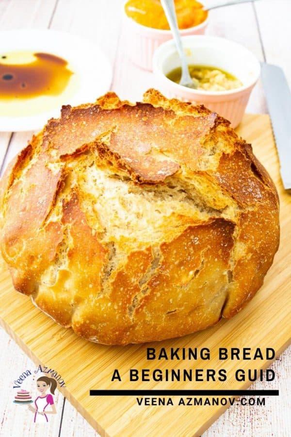 A crusty bread on a cutting board.