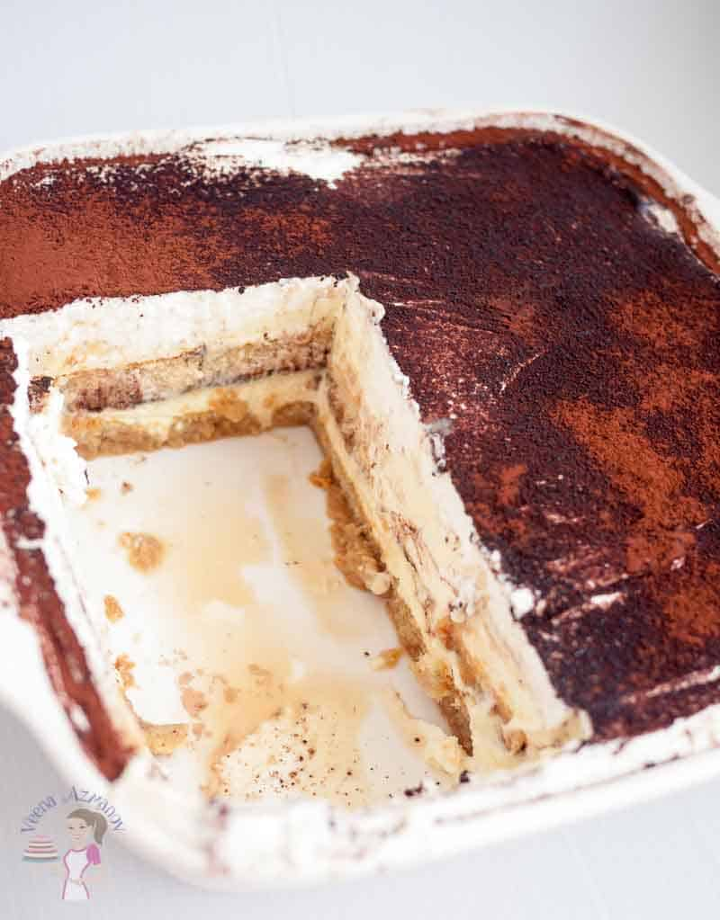 A baking dish with tiramisu.