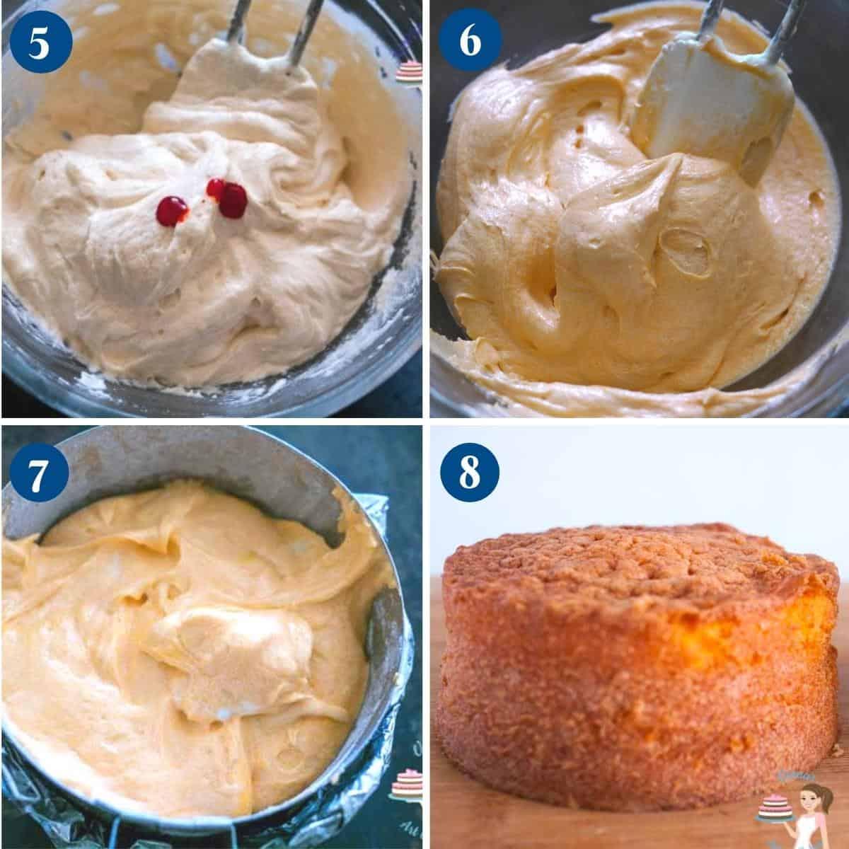 Progress pictures collage making orange layer cake batter.