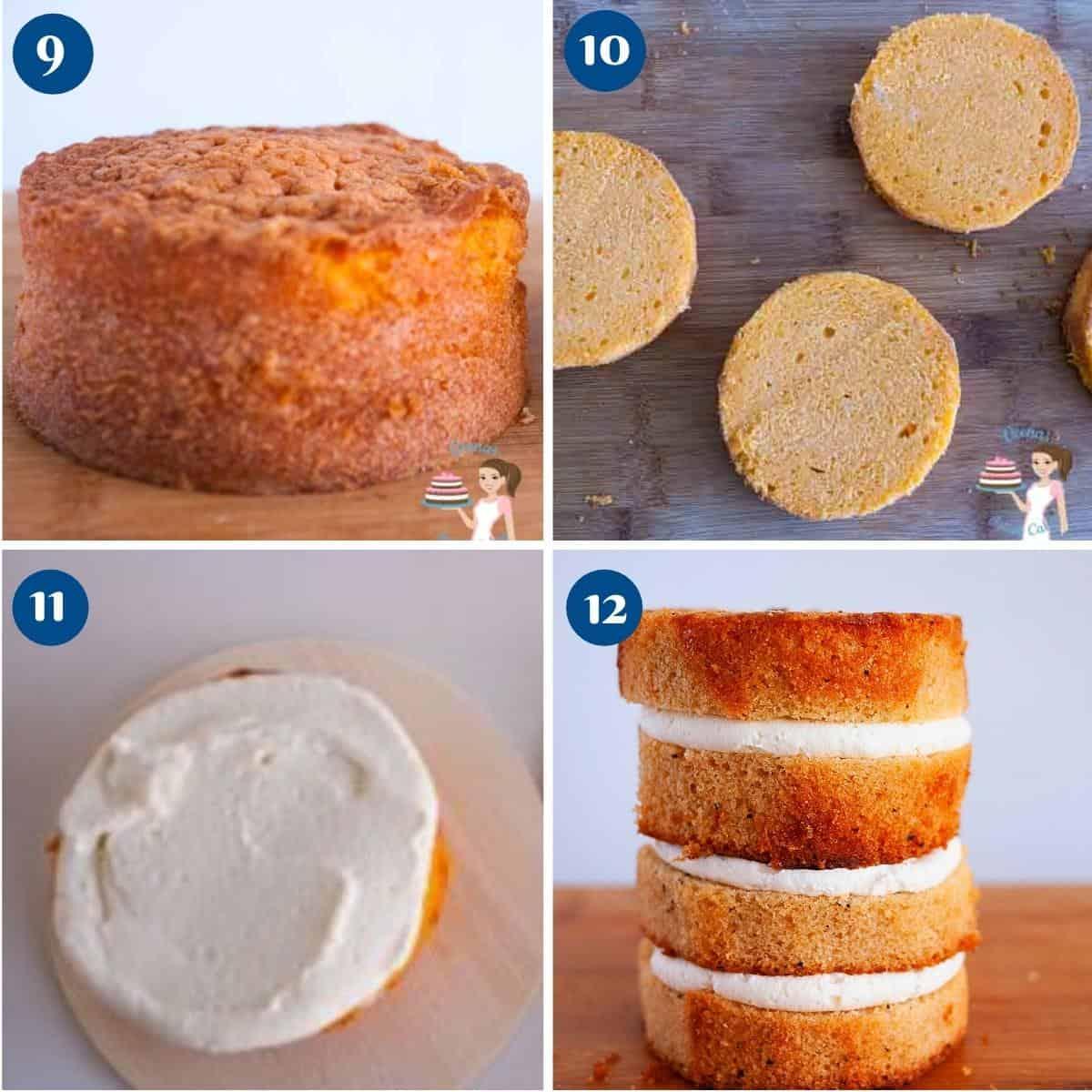 Progress pictures collage stacking orange layer cake.
