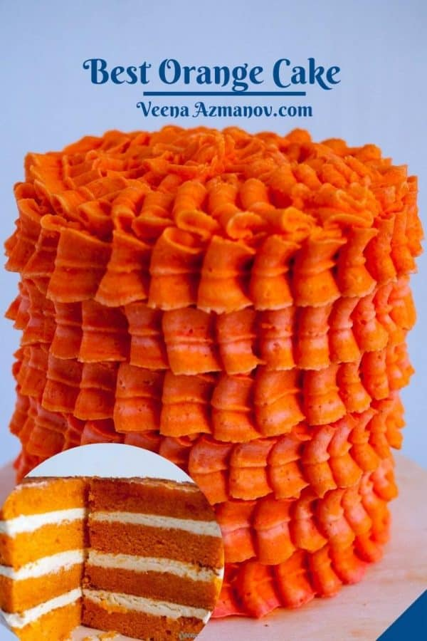 Pinterest image for layer cake with orange flavor.