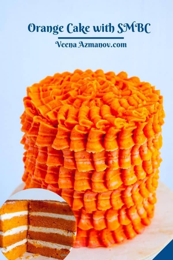 Pinterest image for layer cake frosted with orange SMBC