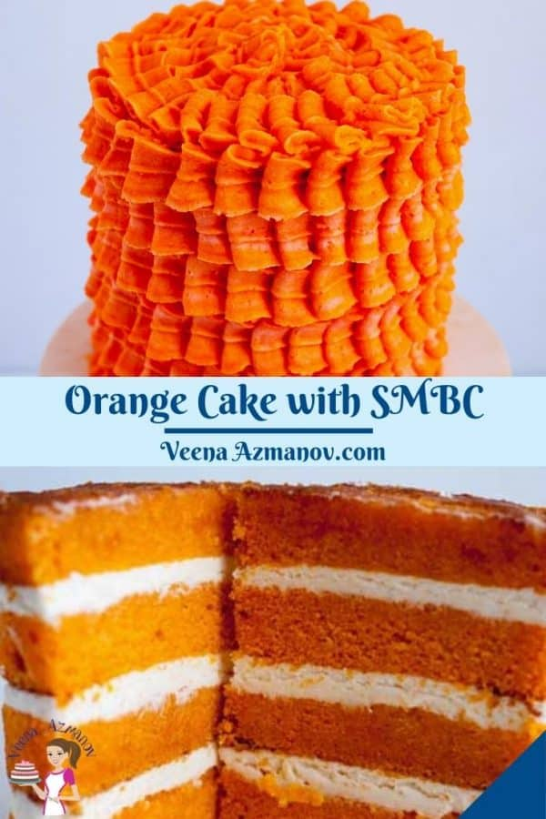 Pinterest image for layer cake with orange flavor and SMBC.