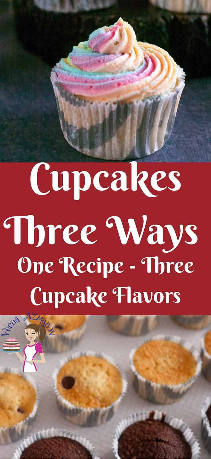 This one recipe three cupcake flavors is a great way to add more options and choices of flavors with just one basic recipe. That way you do not have to bake three different batches of cupcakes to get three different cupcake flavors. A quick easy and effortless recipe with no special equipment necessary.
