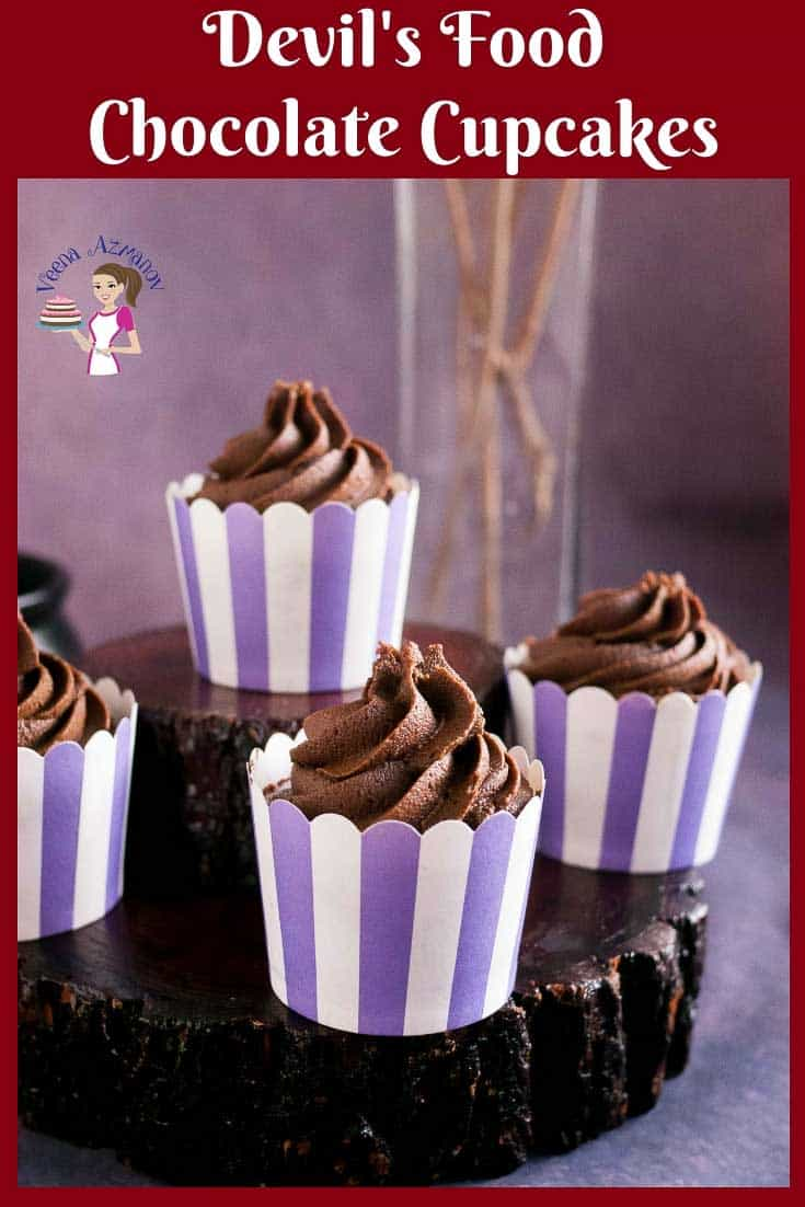 This moist and airy chocolate goodness called devils food chocolate cupcakes are a treat any time of the year. It's a simple easy and quick recipe. The cupcake tastes delicious on its own with all that rich chocolate flavor. #Devil'sFoodChocolateCupcakes #chocolatecupcakes #cupcakes via @Veenaazmanov