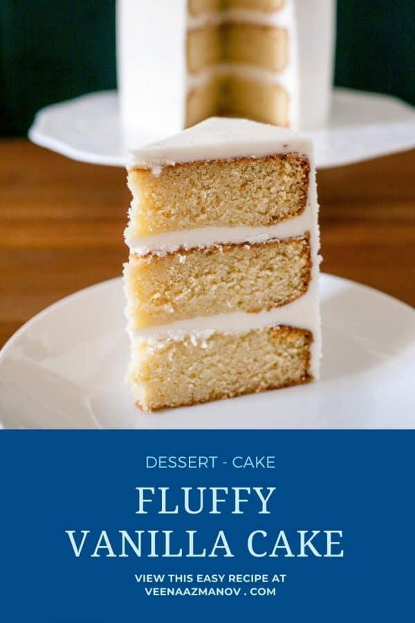 Pinterest image for vanilla cake.