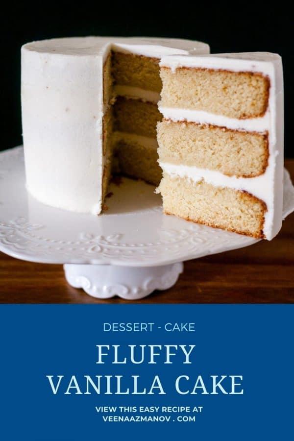 Pinterest image for fluffy vanilla cake.